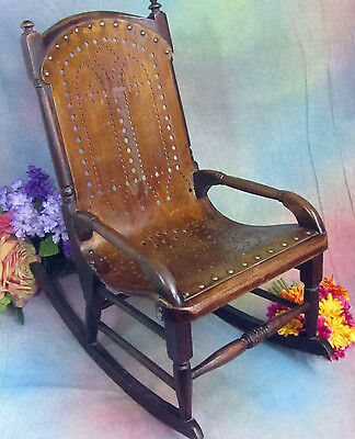 ANTIQUE child's ROCKING chair DOLL ROCKER pierced BENT WOOD brass studs 24x22""