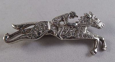 Nice Sterling Silver And Paste Horse And Jockey  Pin /  Badge / Brooch