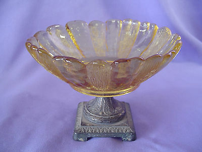 "Vintage Flower Petals Shaped Amber Glass Compote Metal Base Textured 3-3/8"" Tall"