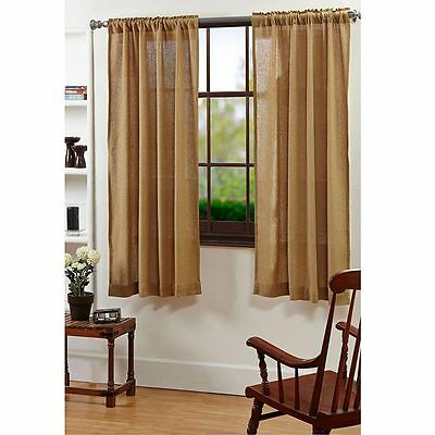 """Burlap Natural Curtain Short Panel Set by VHC Brands - 63""""x36"""""""