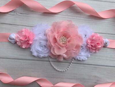 Pink and White Maternity Sash Belt / Baby Showers Vintage Belt /Belly Band