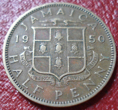 1950 Jamaica 1/2 Penny In Fine Condition