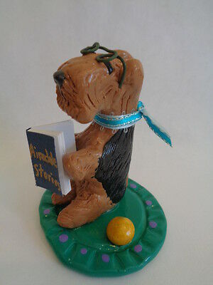 """Hand Sculpted~Airedale Terrier """"reading Book"""" Story Time Art Figurine"""