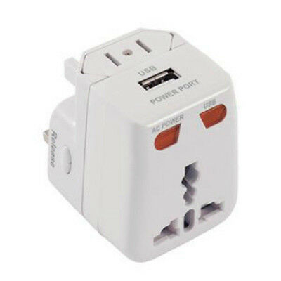 Universal World Wide Travel Adapter Plug Charger UK EU AU US with USB Port