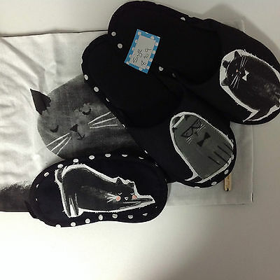 Kitty Kat >^..^< Hand Crafted Slippers, Eye Shades, Bag For Storage $25