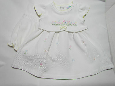 Little Me White Embroidered Floral Baby Girl Easter Dress Size 9 Months Cute!!