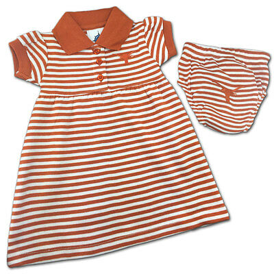 Texas Longhorns Baby Infant Girl 2PC Striped Polo Dress (FREE SHIPPING) 3-6 mo
