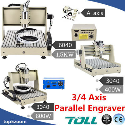 3/4Axis 3040/6040 CNC Router Engraver Cutter Drilling Milling Engraving Machine