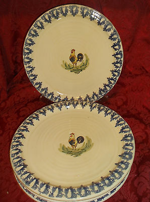 "4 Ceramiche Virginia Rooster 11.25"" Dinner Plates"