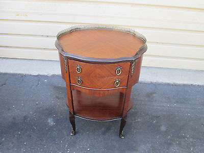 57470 Louis XV Nightstand End Table Stand w/ metal gallery