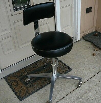 Vtg Mid Century Modern Swivel Industrial Drafting Shop Dental Chair Stool Gorg!
