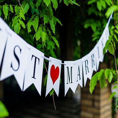 Just Married Rustic Vintage Wedding Sweet Table Banner Bunting Decoration