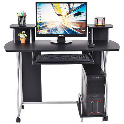 Black Computer Desk with Cupboard Shelves Storage for Home Office - Costway