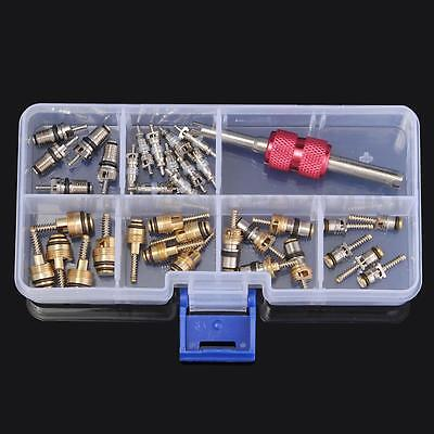35Pcs A/C Core Valves R134A Automotive Air Conditioning Assortment&Remover Kit