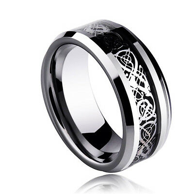Celt Dragon Band Ring Men Stainless Steel Titanium Gold Silver Black Size 6-13