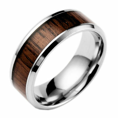 8mm Band Ring Tungsten Steel Wood Men's Stainless Steel Silver Inlaid Size 6-13