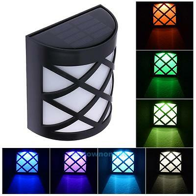 Solar Powered Wall Mount LED Light Outdoor Garden Landscape Fence Yard Path Lamp