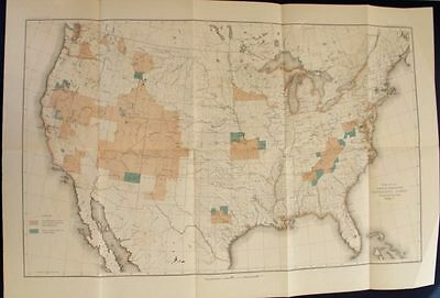 1889 Usa United States America Huge Map. Giles Lithograph Original Antique Map.