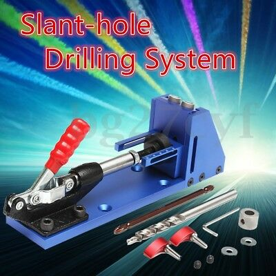 Mini Pocket Hole Drill Jig Joinery System Woodworking Portable Drilling Bits Kit