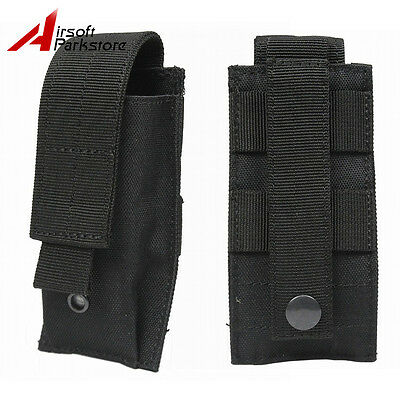 Tactical Molle Single Pistol Magazine Flashlight Pouch Holster for Vest Belt BK