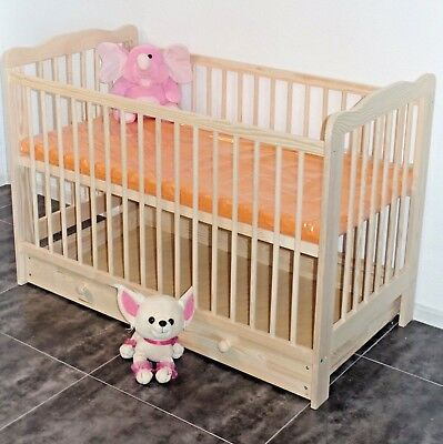 Cot Baby Bed Complete Set 2in1jugendbett Convertible 3 Engravings Solid Wood