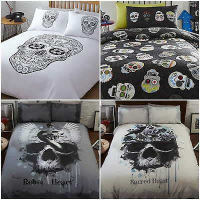 Teen Novelty Gothic Sugar Skulls Duvet Quilt Cover Bedding Bed Sets - 4 Designs
