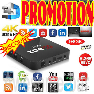 2017 4K PRO Smart TV BOX Android 6.0 S905X Quad Core 1GB/8GB Miracast HDMI WIFI