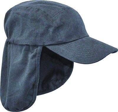 Mens Legionnaires hat Gents UV protection cap long neck flap Summer hiking Blue