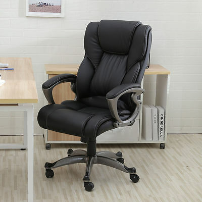 Black Leather Swivel High Back Office Chair Executive Ergonomic Computer Desk
