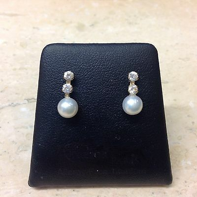 9ct Cultured Pearl and Clear Stone Set Drop Earrings.
