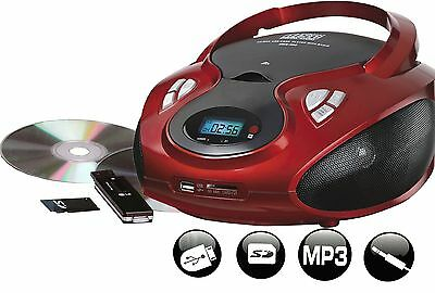 Tragbares Stereo Radio mit CD / MP3 Player USB SD-Card Wiedergabe AUX IN ROT