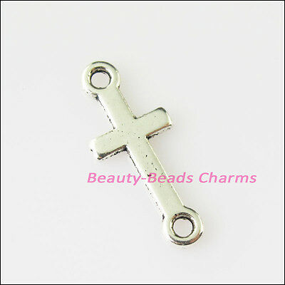 15Pcs Antiqued Silver Tone Smooth Cross Charms Pendants Connectors 8x20mm