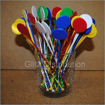 "7"" Assorted Colour Disc Cocktail Stirrers Swizzle Mixer Sticks Pack Of 100"