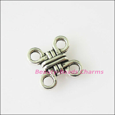 30Pcs Antiqued Silver Tone Chinese Knot Charms Pendants Connectors 10mm