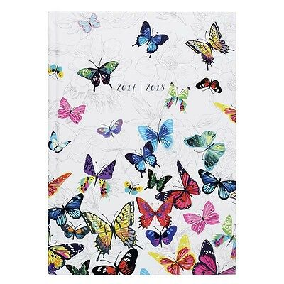 WHSmith Flutterby 2017-18 A5 Board Academic Mid Year Diary Day To Page Layout