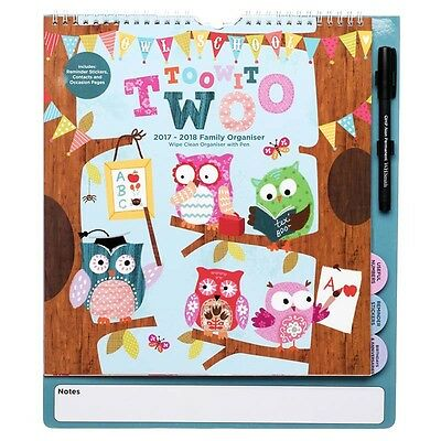 WHSmith 2017-18 Adorable Owl Large Mid Year Calendar Organiser Month To View