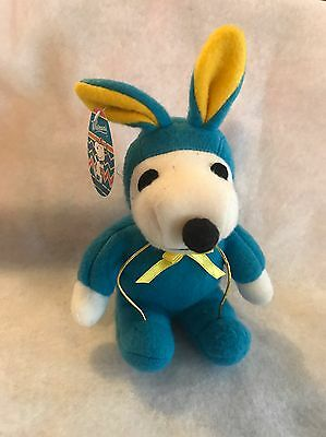 "Whitman's Peanuts Snoopy Plush Stuffed Blue Easter Bunny 8.5"" Tall"