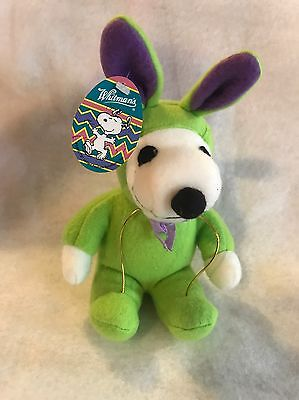 "Whitman's Peanuts Snoopy Plush Stuffed Green Easter Bunny 8.5"" Tall"