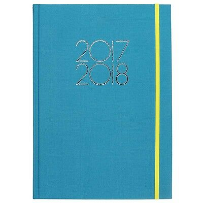 WHSmith 2017-18 A4 Linen Academic Mid Year Diary Teal Case Bound Day To Page