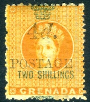 "GRENADA-1888 4d on 2/- Orange (5mm Between Value & ""Postage"") Sg 42 MOUNTED MINT"