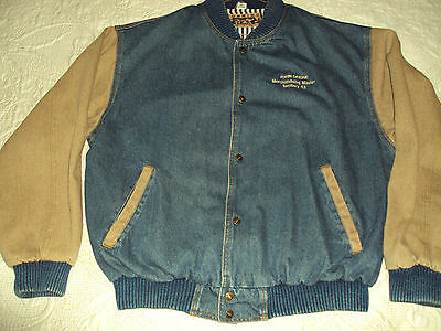 Men's JOHN DEERE Motor Sports VTG Denim Jacket XL With Pin Striped Lining- NICE