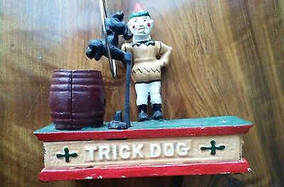 Clown W/jumping Trick Dog Cast Iron Mechanical Bank V/nice Reproduction
