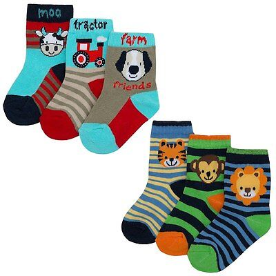 3 Pairs Boys Socks Animals/tractor/stripe 0-0/0-2 1/2/3-5 1/2 Cotton Rich