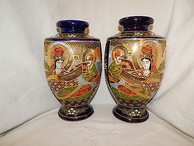 LARGE PAIR ANTIQUE JAPANESE MEIJI BLUE SATSUMA VASES c1890 ~ IMMORTALS ~ SIGNED