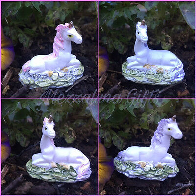 Tiny Lilac Pink & White Magical Unicorn Fairy Garden Ornament In Gift Bag