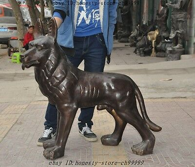 """40"""" Chinese Bronze Fengshui Dog Hunting dogs Police dog Canine Statue Sculpture"""