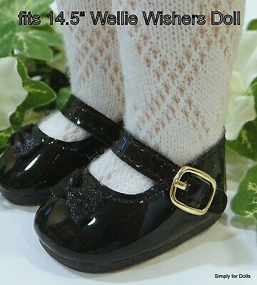"""BLACK w/ BOW Patent Mary Jane DOLL SHOES fits American Girl 14.5"""" WELLIE WISHERS"""