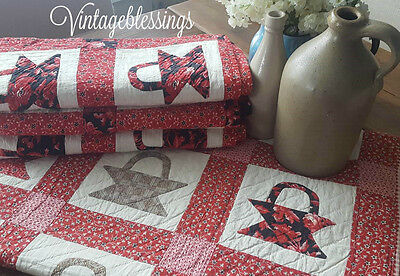 Early Antique BEAUTIFUL PAIR of Red Basket QUILTS c1880 Sister Quilt