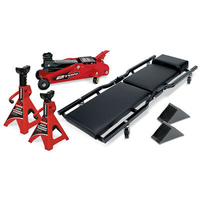 Powerbuilt 6 Piece Garage Set, Floor Jack, Jack Stands, Creeper, Wheel Chocks