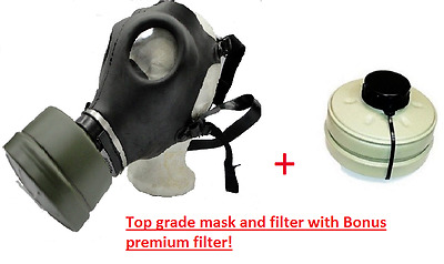 Israeli Gas Mask w/ Genuine Military Sealed NBC NATO 40 MM Filter + BONUS Filter